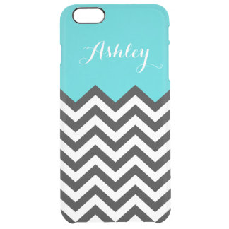 Stylish Teal Blue Chevron Zigzag Pattern Monogram Uncommon Clearly™ Deflector iPhone 6 Plus Case