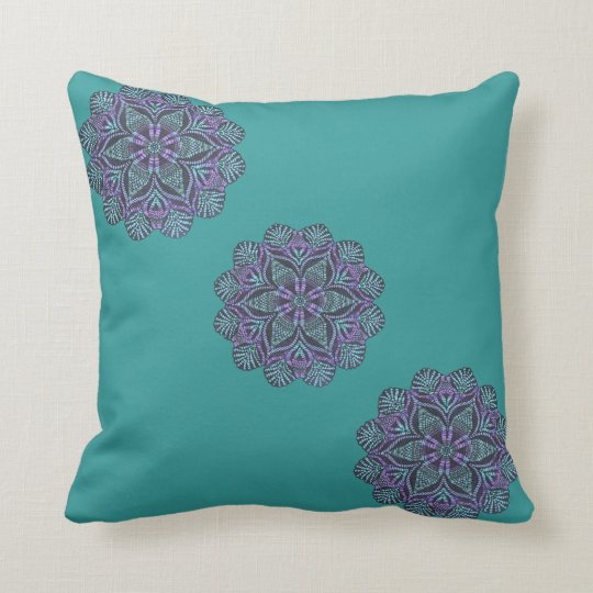 Stylish teal floral pattern pillow