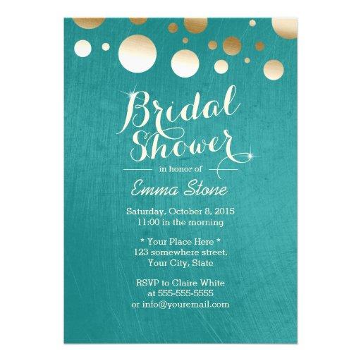 Stylish Teal Green Gold Dots Bridal Shower Custom Invite