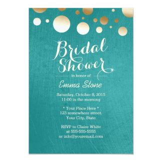 Stylish Teal Green Gold Dots Bridal Shower 5x7 Paper Invitation Card