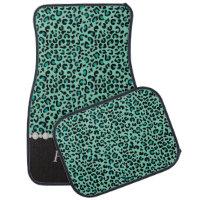 Stylish Teal Leopard Animal Print | Personalize Car Mat