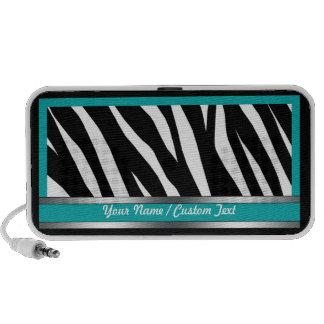 Stylish Teal Zebra Print Doodle Speaker