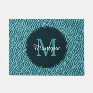 Stylish Teal Zebra Print With Monogram and Name Doormat