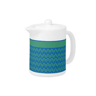 Stylish Teapot, Emerald and Blue Geometric