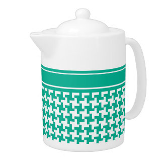 Stylish Teapot Emerald Dogtooth Check