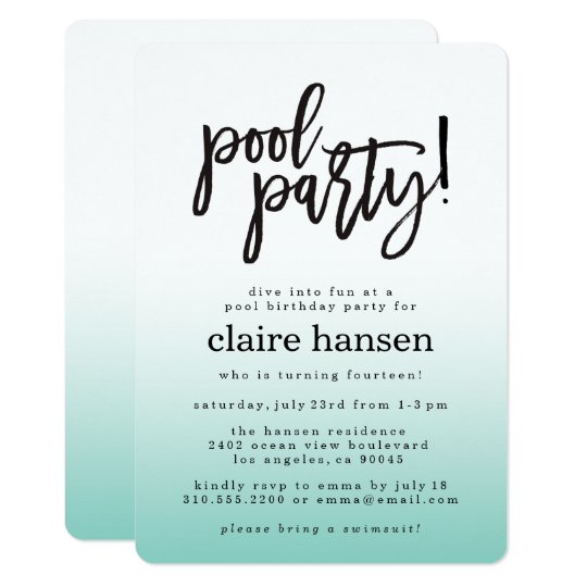 Stylish Teen Pool Party Birthday Invitation