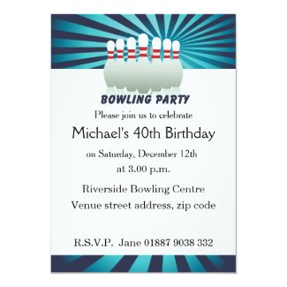 "Stylish Ten Pin Bowling Birthday Party Invitation 5"" X 7"" Invitation Card"