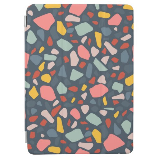Stylish terrazzo teal design iPad air cover