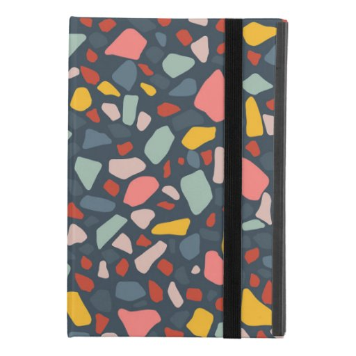 Stylish terrazzo teal design iPad mini 4 case