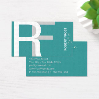 Stylish Textured Monogram CHOOSE BACKGROUND COLOR Business Card