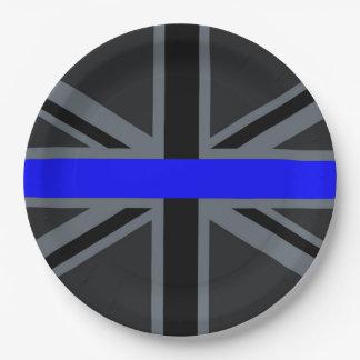 Stylish Thin Blue Line Union Jack Paper Plate