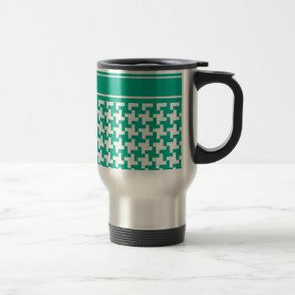 Stylish Travel Mug, Emerald Green Dogtooth Check Travel Mug