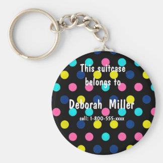 Stylish Traveling Bag Tag Polka Dot Basic Round Button Keychain