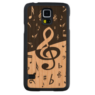 Stylish Treble Clef Wave Black and White Carved® Cherry Galaxy S5 Case