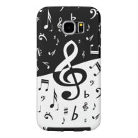 Stylish Treble Clef Wave Black and White Samsung Galaxy S6 Cases