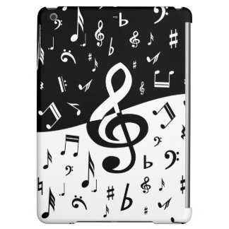 Stylish Treble Clef Wave Black and White iPad Air Cover