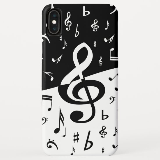 Stylish Treble Clef Wave Black and White iPhone XS Max Case