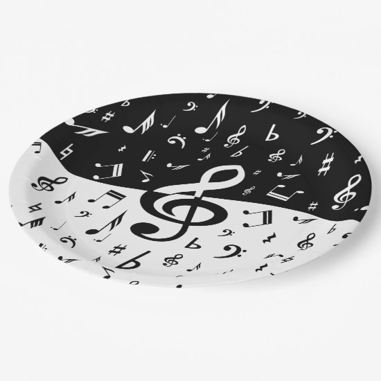Stylish Treble Clef Wave Black and White Paper Plate