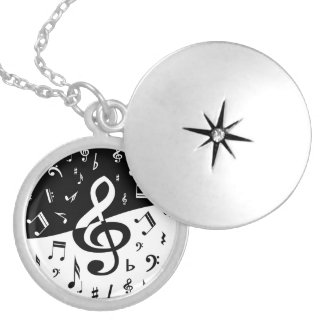 Stylish Treble Clef Wave Black and White Silver Plated Necklace