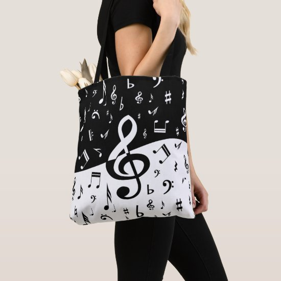 Stylish Treble Clef Wave Black and White Tote Bag