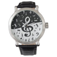 Stylish Treble Clef Wave Black and White Wristwatch