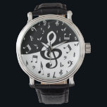 """Stylish Treble Clef Wave Black and White Wrist Watch<br><div class=""""desc"""">A stylish and eye-catching pattern of random musical notes in black and white with a large treble clef in the centre. The bottom of the design features black music notes on a white background with the top featuring white music notes on a black background. The large clef changes from black...</div>"""