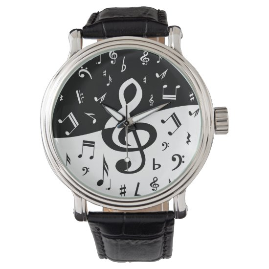 Stylish Treble Clef Wave Black and White Wrist Watch
