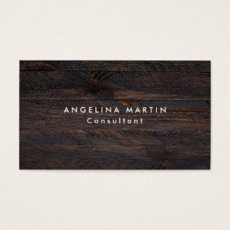 Stylish Trendy Dark Brown Wood Texture Modern Business Card