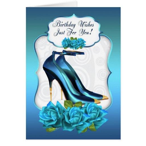 Stylish trendy high heel shoe birthday greeting ca card zazzle