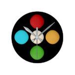 Stylish Trendy Red Yellow Green Blue Dots Round Clock