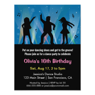 Stylish Trendy Teens Disco Dance Birthday Party 4.25x5.5 Paper Invitation Card