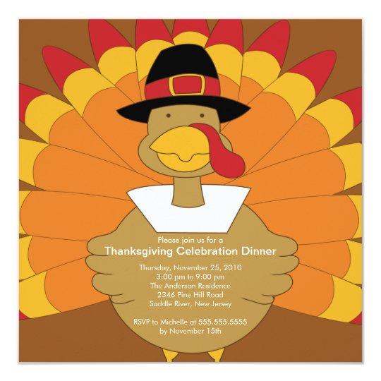 Stylish Turkey Thanksgiving Invitations