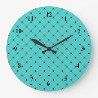 Stylish Turquoise and Black Lines Pattern Large Clock