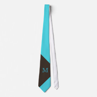 Stylish Turquoise and Brown Monogram Neck Tie