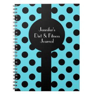 Stylish Turquoise & Black Polka Dot Custom Journal