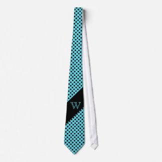 Stylish Turquoise & Black Polka Dot Monogram Tie