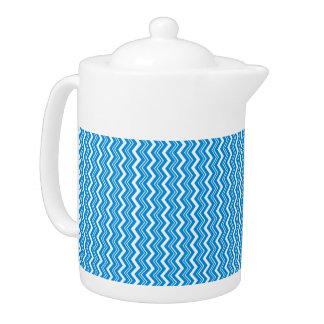 Stylish Turquoise Blue and White Zigzag Pattern Teapot