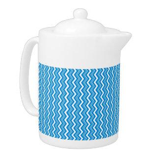 Stylish Turquoise Blue and White Zigzag Pattern Teapot