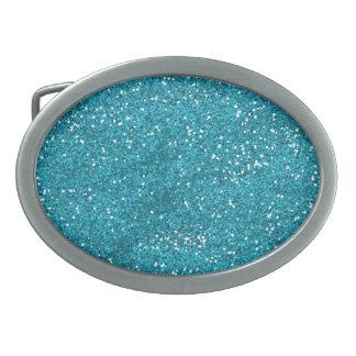 Stylish Turquoise Blue Glitter Belt Buckle