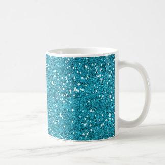 Stylish Turquoise Blue Glitter Coffee Mug