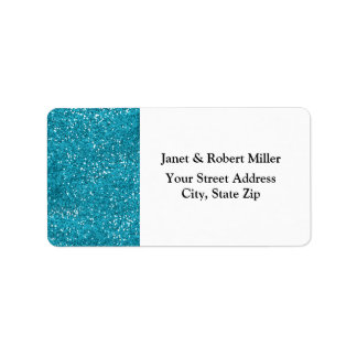 Stylish Turquoise Blue Glitter Label