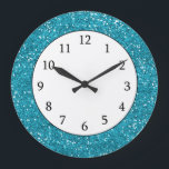 """Stylish Turquoise Blue Glitter Large Clock<br><div class=""""desc"""">A stylish and trendy turquoise blue  glitter pattern designed digitally to add a touch of glam and luxury glitzy look  to your gift.</div>"""