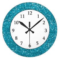 Stylish Turquoise Blue Glitter Large Clock