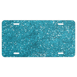 Stylish Turquoise Blue Glitter License Plate