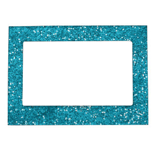 Stylish Turquoise Blue Glitter Magnetic Picture Frame