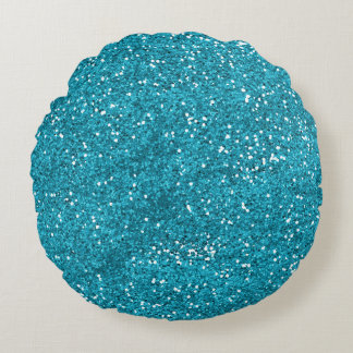 Stylish Turquoise Blue Glitter Round Pillow