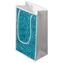 Stylish Turquoise Blue Glitter Small Gift Bag