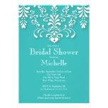 Stylish Turquoise Damask Bridal Shower Invitation
