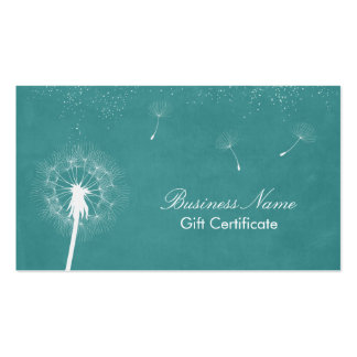 Stylish Turquoise Dandelion Gift Certificate Business Card Template