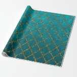 Stylish Turquoise Gold Quatrefoil Glitter Print Wrapping Paper at Zazzle